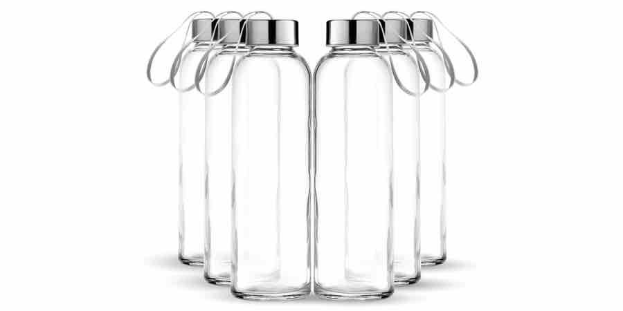 botella de agua cristal, botellas de agua de cristal azul