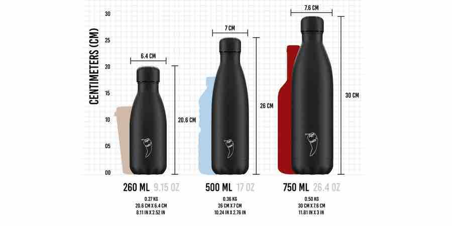 Tamaño de las botellas de agua chilly, chilli botellas, botella acero inoxidable chilly, botella acero chilly, chilla's bottle rebajas