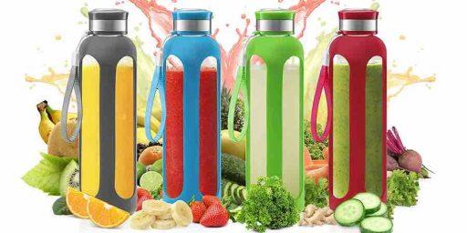 botellas de vidrio con fundas de silicona